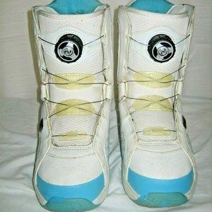 DC Blue White Boa Snowboard Boots Size 7